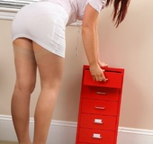 Kinky redhead teases her way out of her work…