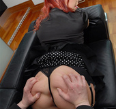 Redhead mature milf in black dress nad nylons gets…