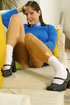 Brunette Cindy in short college uniform with ankle…