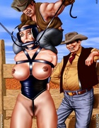 Cowboys ride their novice ponygirls!