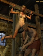 Hangman tied the woman and begins to ...