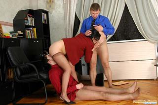 pantyhosed secretary licked dicked
