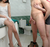 Naughty chicks in barely visible hose punishing…