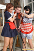 Salacious French maids teaming up to give mind-blowing pantyhosejob in