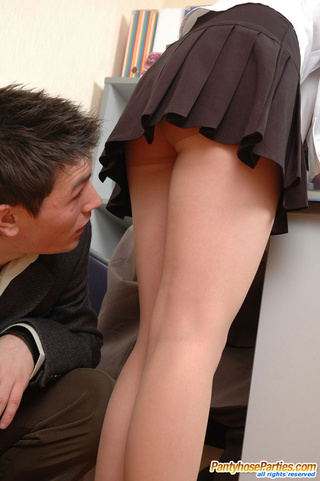 office place mind-blowing pantyhose