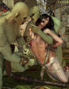 Green orcs want to torment a hot busty brunette