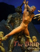 Blonde girl tied to statue with huge cock!