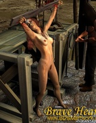 Pirates humiliate their brunette slave girl!