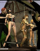 Three busty slave girls hanged and violated!