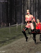 Busty slave girls harnessed like a pony!