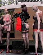 Two bald slave girl in lingerie and their Mistress…