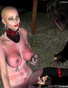 Bald slave girl obeys to her master!
