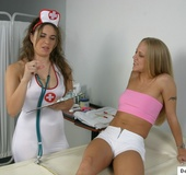 Sex nurse gives a girl an anal examination