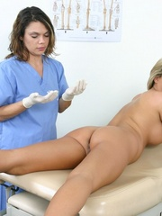 Two nurses examine a hot brunette girl - XXX Dessert - Picture 8
