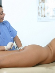 Two nurses examine a hot brunette girl - XXX Dessert - Picture 19