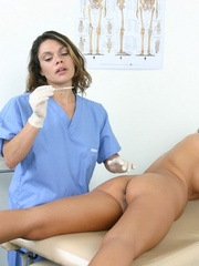 Two nurses examine a hot brunette girl - XXX Dessert - Picture 20