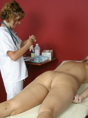 Tan nurse gives a sex exam to a white girl - XXX Dessert - Picture 8