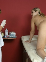 Tan nurse gives a sex exam to a white girl - XXX Dessert - Picture 17