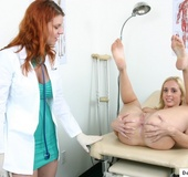 Sexy young blonde gets a sex exam