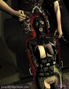 Slave girl in leather outfit like a mummy in a…