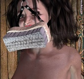 Snow White gagged with brush so she can wash the…