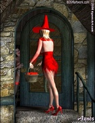 Fetish cartoons. Witch in sexy red dress tries to…