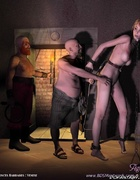 Blonde slave is hanged in the storing well!