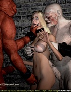 Blonde slave girl became troll's sex toy!