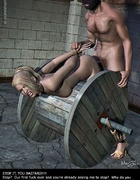 Bound girl tries to escape her prison!