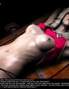 Blonde blindfolded girl roped on the table!