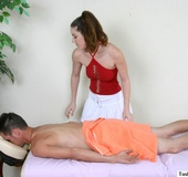Horny blonde massages a hot brunette