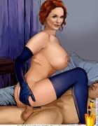 Redhead toon bimbo Christina Hendricks is a real…