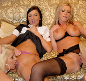 Lesbian party with gorgeous shaved pussies and…