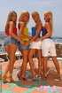 Four lesbian blonde girls having a marvelous fun