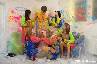 painting teen beauties undressing