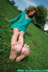 Perfect feet european teen hottie in green dress…