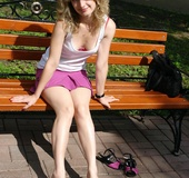 Stunnung teen blonde in pink miniskirt and white…