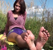 Brunette teen stunner taking off her shoes and…