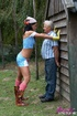 A working teenager fucks a very old guy hardcore outdoors