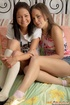 A pair of little teen lesbos enjoying thick dildos…