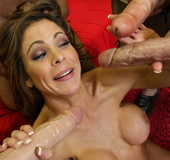 Hunter gets her holes jammed by huge dicks and her…