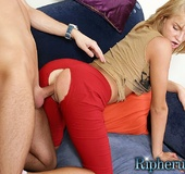 Stud tears hole in blondes pants and makes her…