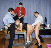 Three office guys working in a new secretary babe…