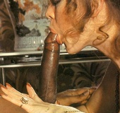 Two hairy eighties girls having fun with big black…