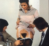 Wet and hairy seventies pussy inspected by two…