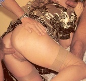 Vintage milf loves to handle two dicks at the same&hellip;