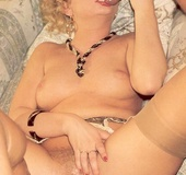 Vintage milf loves to handle two dicks at the same…