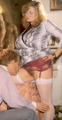 Seventies lady receives a sticky load on her