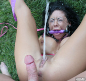 Hot slut in pool get drench with her own cum!