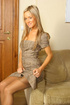 Carman looks amazing in secretary dress and tan…